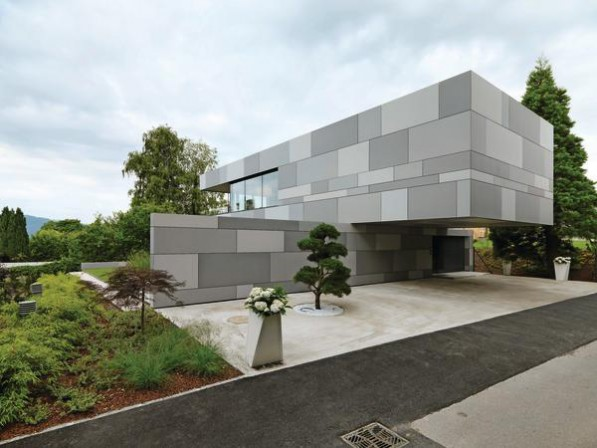 Fassadengestaltung Mit Faserzementplatten Niedrigenergiehaus Am