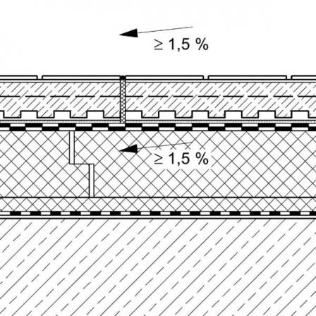 Ein typischer Querschnitt von Dachterrassen: keramischer Plattenbelag im Klebebett auf Estrich und Dränschicht, Warmdachaufbau