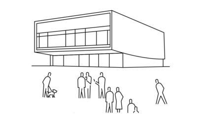 Zeichnung eines Musik-Clubs mit Menschen