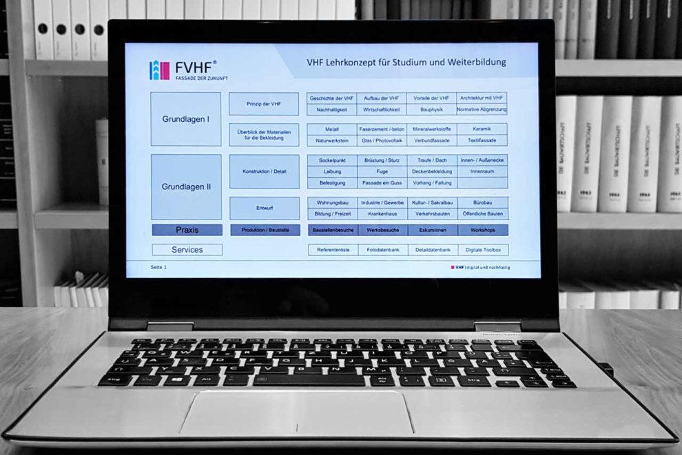 Laptop mit digitalem Bildungsangebot zum Thema vorgehängte hinterlüftete Fassaden