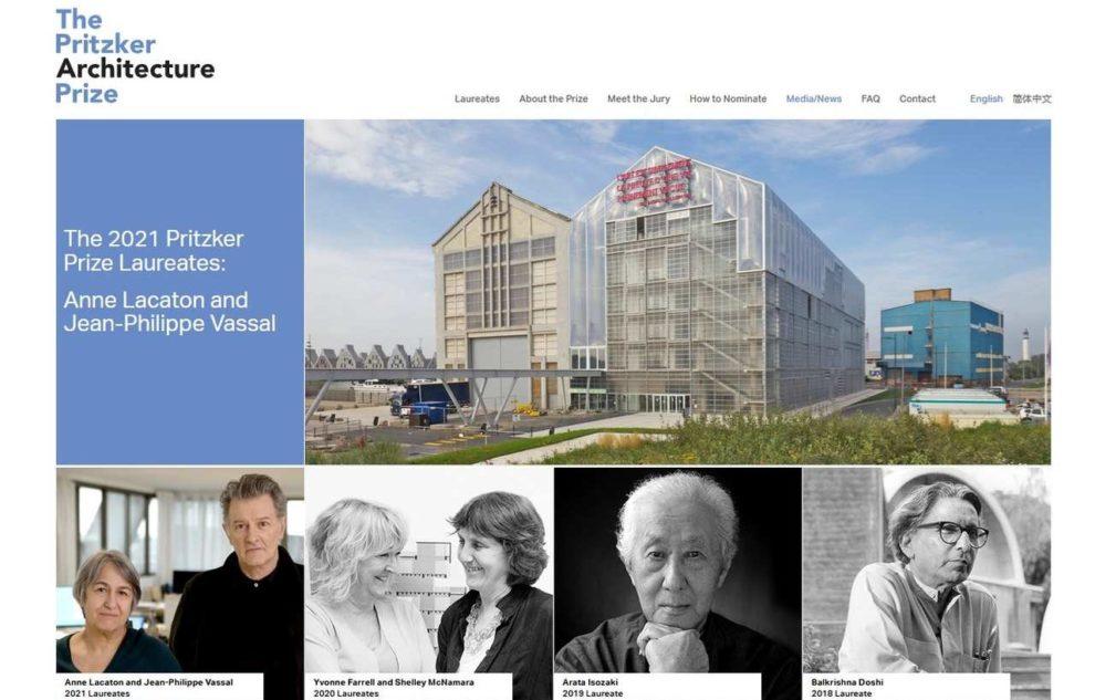Screenshot Webseite Pritzker Preis