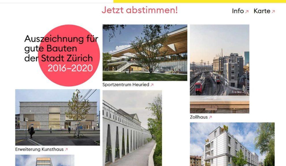 Abstimmung online für Architekturpreis Gute Bauten der Stadt Zürich