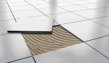 White_glossy_ceramic_tile_floor_repair._background._3d_rendering