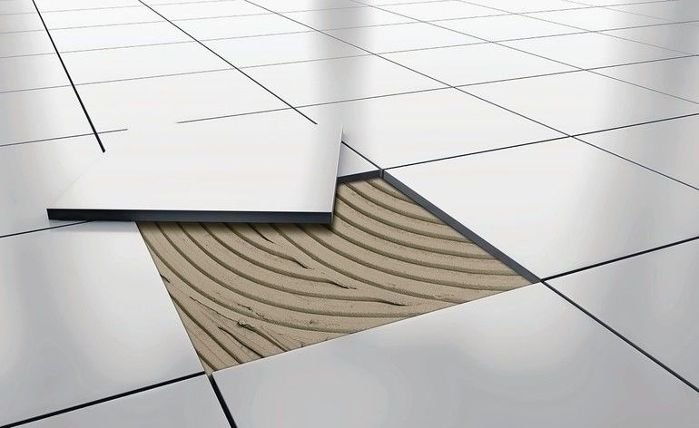 White_glossy_ceramic_tile_floor_repair._background._3d_rendering