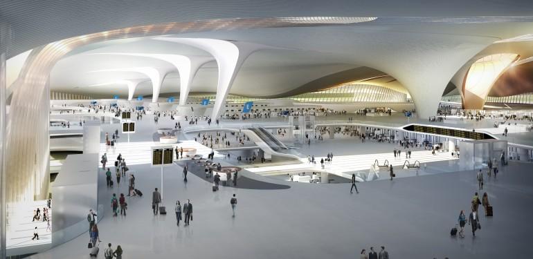 Fenster, Dachtragwerk und Stütze in einem: Beijing New Airport Terminal Building,  Daxing/Beijing Entwurf: ADP Ingeniérie und Zaha Hadid Architects