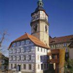 Stiftshof Backnang, Außenansicht mit Galerie und Treppe