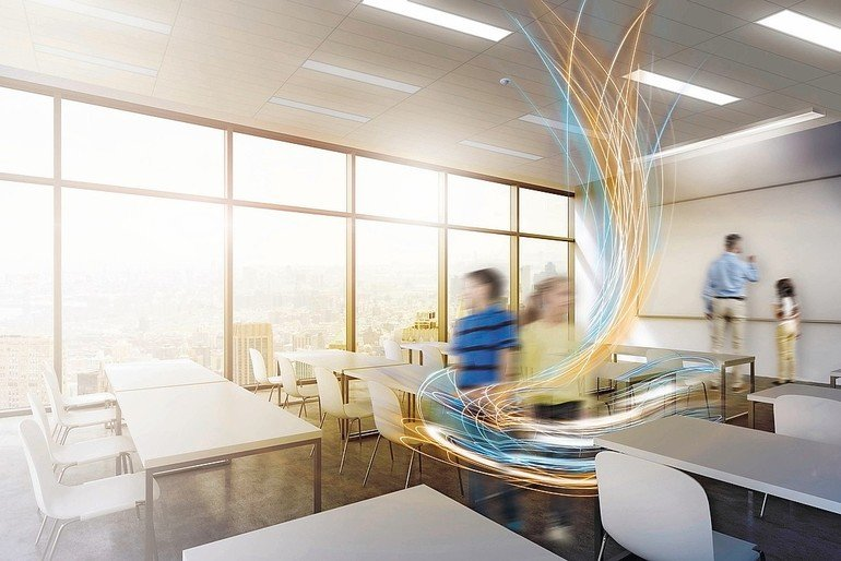 A_modern_panoramic_classroom_with_New_York_view._White_tables_and_white_chairs._3D_rendering._Sunset._Toned_image.